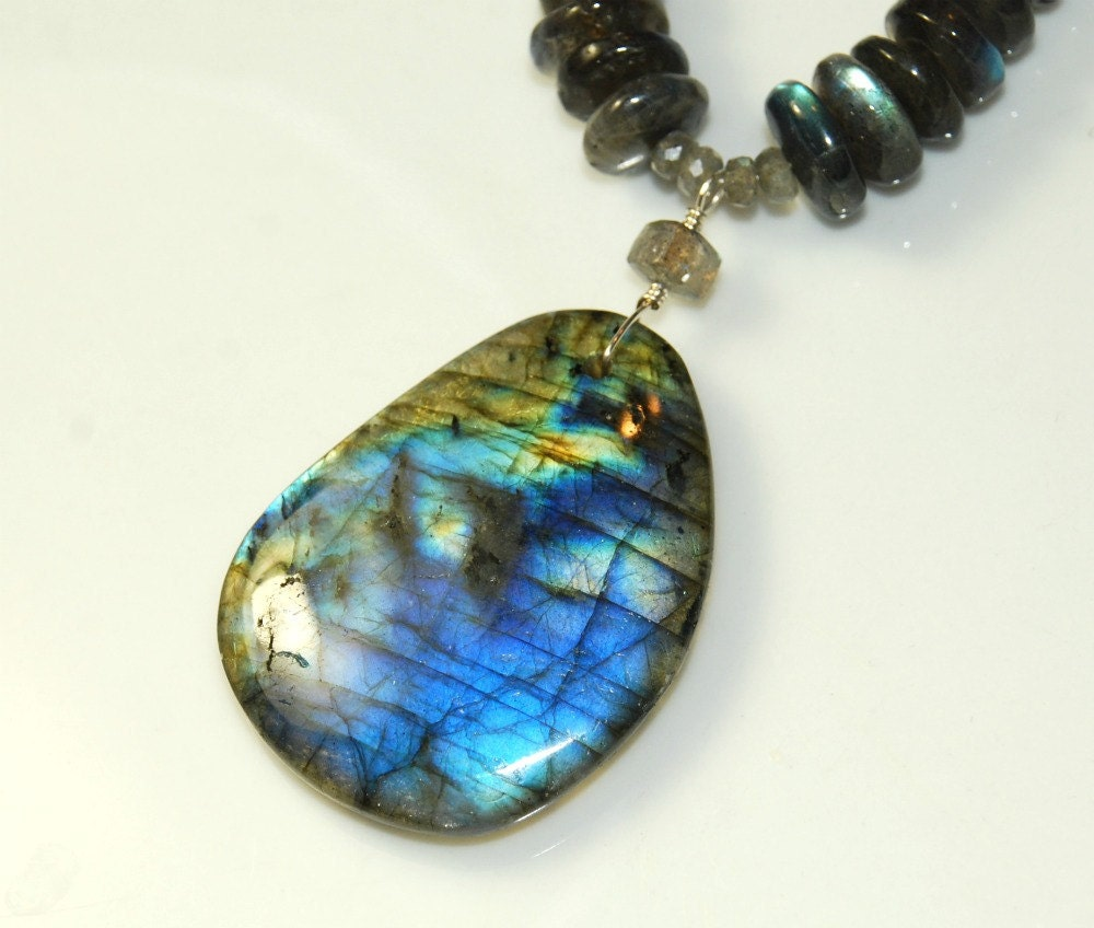 blue labradorite necklace large gemstone pendant by eleven13