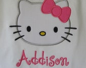Hello Kitty Applique Ruffle Shirt Personalized by Giggles and Grins Creations