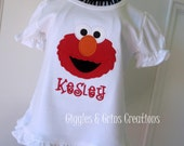 Elmo Applique Shirt Personalized by Giggles and Grins Creations