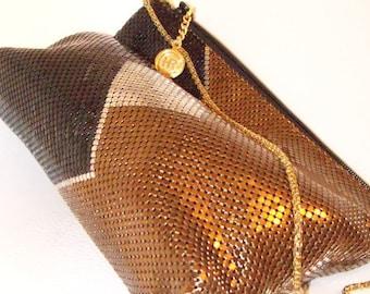 vintage color block geometric mesh clutch