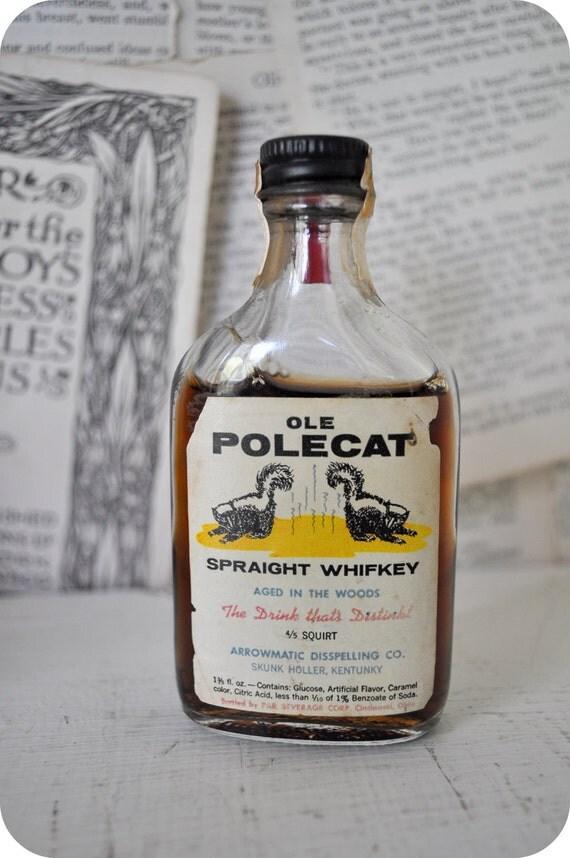 Vintage OLE POLECAT Nelson Ronsheim Whiskey Spoof Bottle