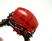 RESERVED for Amanda Murphy Bright Red Swirl Glass Bead Gun Metal Wire Wrapped Ring