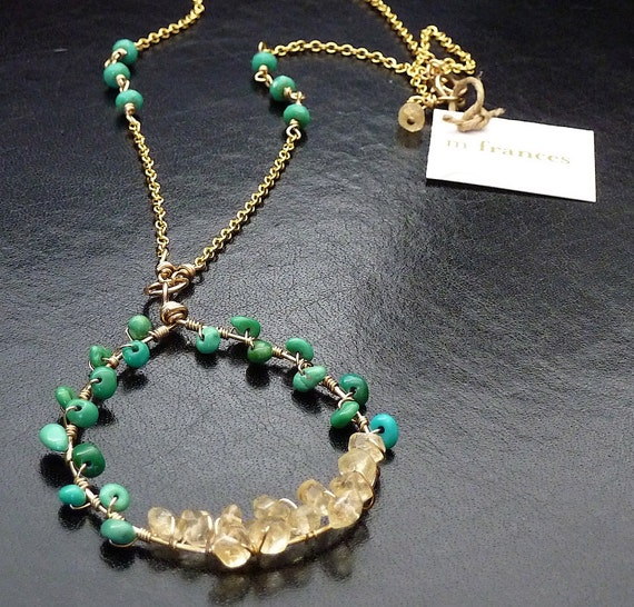 Gemstone Necklace - Turquoise and Citrine wire-wrapped Pendant on 14K Goldfill Cable Chain