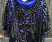 Royal Blue and Black Shimmery Sequin Top