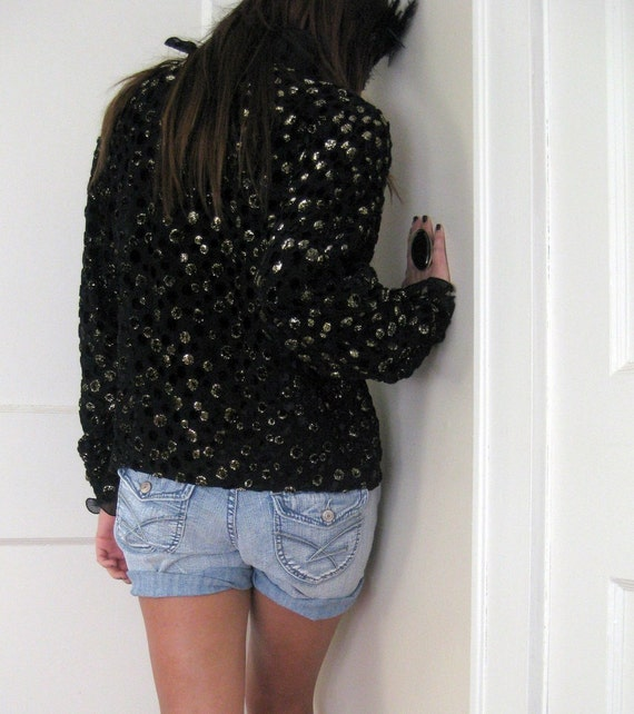 RESERVED //////// SALE Flowy Blouse with Fuzzy Black and Metallic Gold Dots and Ruffled Collar