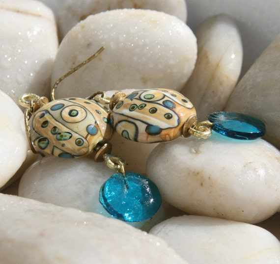 Jambo - lampwork glass dangle earrings in blues, greens, and creams with brass accents