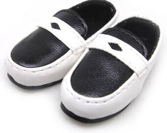 White Black School Shoes for YOSD, LittleFee, Petite Ai, Ange Ai, Ciao Bella S00039B