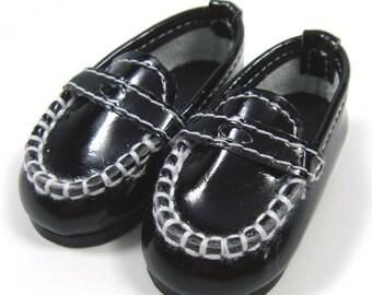 Black Boat Shoes for BJD Dolls YO-SD, LittleFee, Petite Ai, Ange Ai, Ciao Bella S00024A