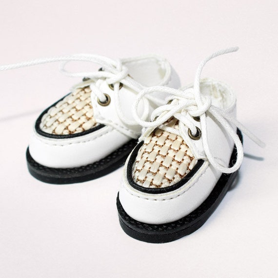 White 2-Eyelet Boat Shoes for YO-SD, LittleFee, Petite Ai, Ange Ai, Ciao Bella S00043A