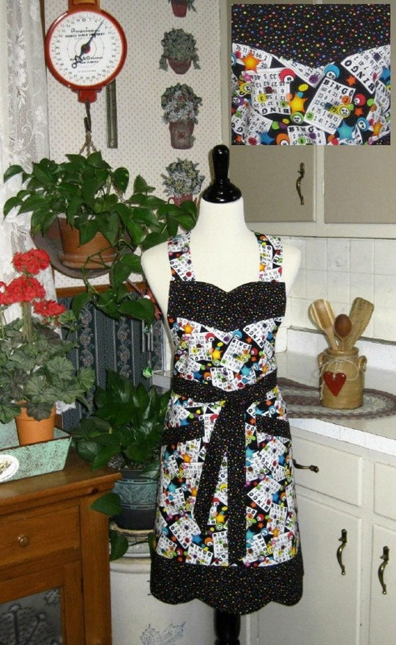 CLEARANCE - Priced As Marked / Priority Shipping Through 12/19/  For the BINGO fan - Sporty & Fun Bib Apron
