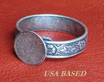 Ring Base Blanks SIX Adjustable 10mm pad Sterling Antique Silver plated to Size 10 Lrg band Ox finish NO black spot at end of band