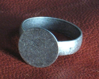 ADJUSTABLE Ring Blank bases 6 oxidized matte silver or brass ring blanks Narrow band Mens Womens gif