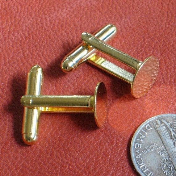 SALE 16 GOLD plated 10mm CUFF LINK BLANKS, 8 pair of Sturdy solid high quality pieces