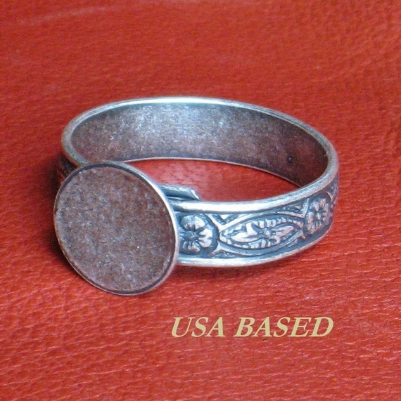 6 Ring Blanks Oxidized silver Bases HIDDEN Adjustable to size 11 large 1st Quality NO black spot at end of band Antique silver plated