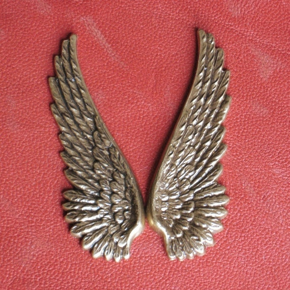 8 Wings FREE Drilled Holes plus Jumprings upon Request Lrg. 52mm Metal stampings Charms Pendants Antique Brass Finish, 2 Inches long,