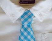 Boy's Tie - Turquoise Gingham- any size