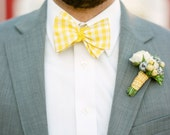 Men's Bow Tie - Yellow Gingham - Sunny Lemon Yellow and White Checks - Adjustable