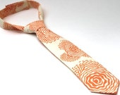 Boy's Tie - Peach and Cream Poppies