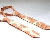 Baby Boy's Tie - Peach and Cream Poppies - Floral Print