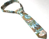 Boy's Tie - Blue and Tan Paisley - Any Size
