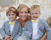 Boy's Bow Tie - Yellow Gingham - any size boys bowtie bowties - yellow gingham bowtie