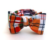 Men's Bow Tie - Madras Plaid - Red Orange Blue Green White Tan - Adjustable