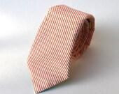 Men's Tie - Orange Seersucker - Citrus and White Stripe Necktie