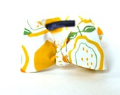 Men's Bow Tie - Lemon Yellow - Yellow Orange and White Lemon Print - Adjustable