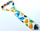 Boy's Tie - Whale Theme - Nautical Print in Blue Green and Yellow