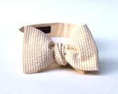 Men's Bow Tie - Yellow Seersucker - Pale Yellow and White Stripes - Adjustable