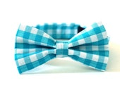 Bow Tie  Turquoise Gingham  LIttle Boys Bow Tie  Baby Bow Tie  Teal Check   Aqua and White  Wedding  Ring Bearer