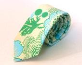 Men's Tie - Poppy Print - Blue, Green, & Ivory