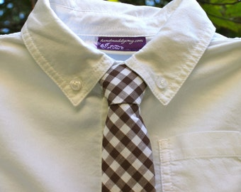 Boy's Tie - Brown Gingham - Dark Brown and White Plaid Necktie - boys necktie Brown Gingham Tie chocolate brown gingham kids tie Ring Bearer