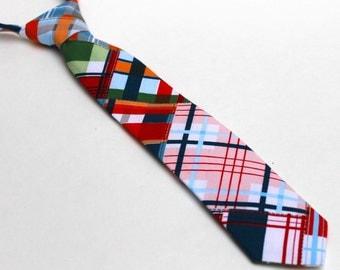 Madras Kid's Necktie - size 2T-4T 2 3 4 years old - Plaid Boy's Tie in Navy Red White Grey Orange Green Brown - In Stock