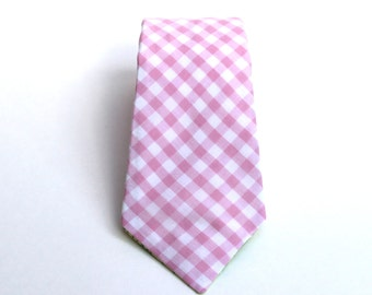 Mens Tie - Pink Gingham Tie - Pink and White Plaid Tie - In Stock - Pink Tie - Blush Tie - gingham tie - pink gingham tie - blush neckties