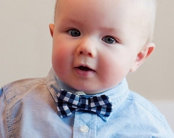 Baby Boy's Bow Tie - Navy Blue Gingham bowtie - navy gingham tie