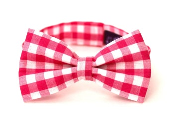 Boy's Bow Tie - Fuchsia Gingham - size 3-5 years - In Stock