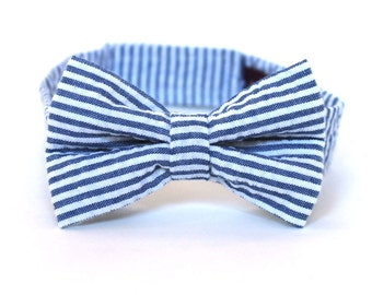 Boy's Bow Tie - Navy Blue Seersucker Stripe - any size