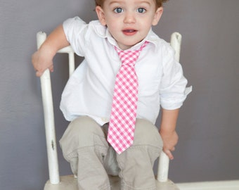 Boy's Tie - Gingham - ANY COLOR - royal blue gingham, black gingham, lilac gingham, purple gingham - any size boys necktie