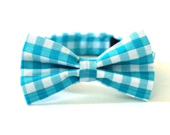 Boys Bow Tie turquoise gingham bowtie Aqua Gingham Bow TIe little boys bowties turquoise and white checkered bow ties for boys Suspenders