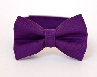 Boy's Bow Tie - Amethyst Purple Solid - Deep Purple Bowtie
