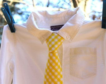 Boy's Tie - Yellow Gingham - any size