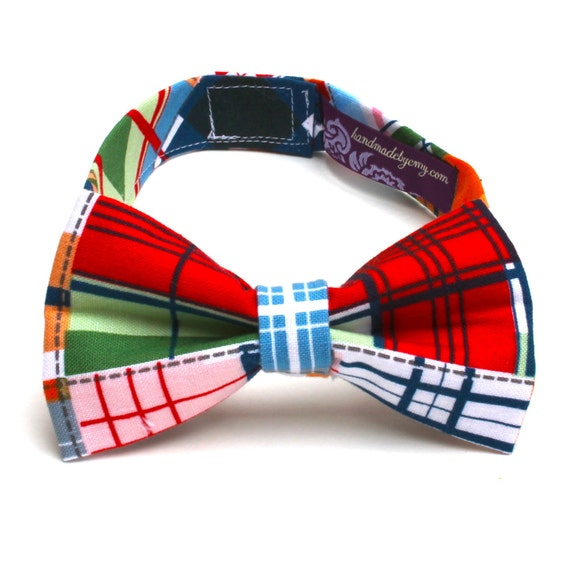Boy's Bow Tie - Madras Plaid - Little Kid's Bowtie - Nautical Plaid - Red Blue White Green Brown Orange Grey - any size