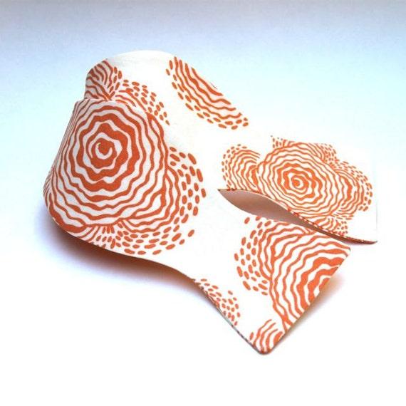 Men's Bow Tie - Peach & Cream Poppy Print - Adjustable self tie bowtie