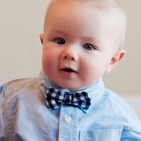 baby boy s bow tie navy blue gingham by handmadebyemy on etsy