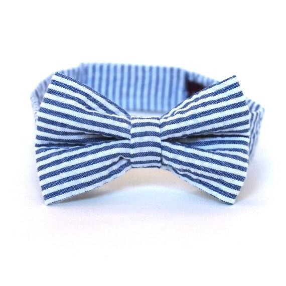 Boy's Bow Tie - Navy Blue Seersucker Stripe - any size