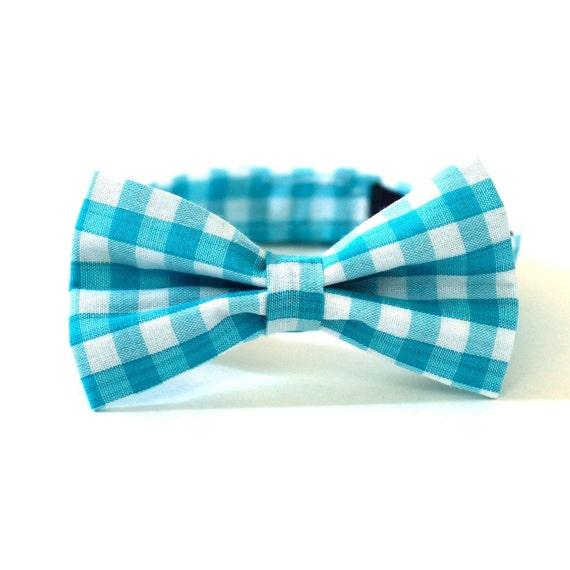 Baby Boy's Bow Tie - Turquoise Gingham - Aqua Blue and White Checks
