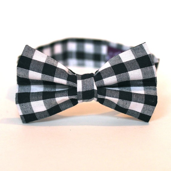 Boy's Bow Tie - Black Gingham - Black and White Checks