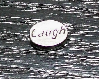 Oval Pewter Laugh Message Bead Bag of 25