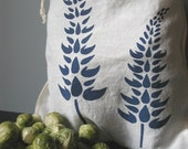 Organic Linen Drawstring Produce Bag- Hand Screen Printed with Lupine Design